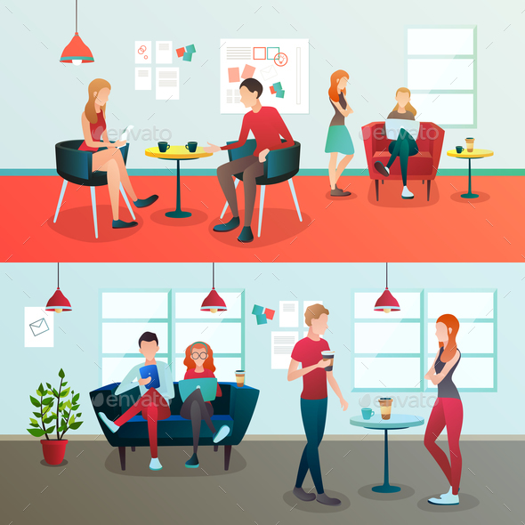 Creative Coworking Interior Composition - People Characters