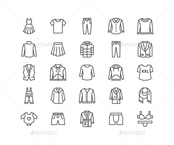 Clothing, Apparel Line Icons - Objects Icons