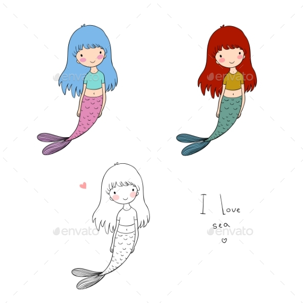 Cartoon Little Mermaid - Animals Characters