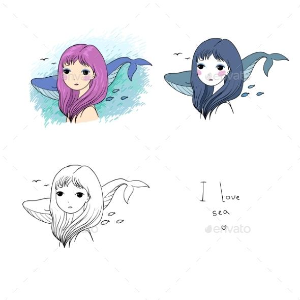 Set of Cartoon Little Mermaids - Animals Characters
