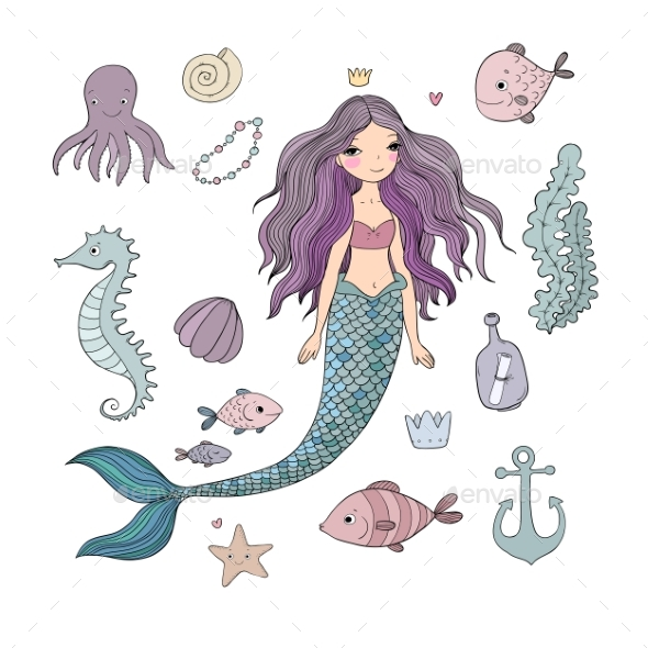 Marine Illustrations Set - Animals Characters