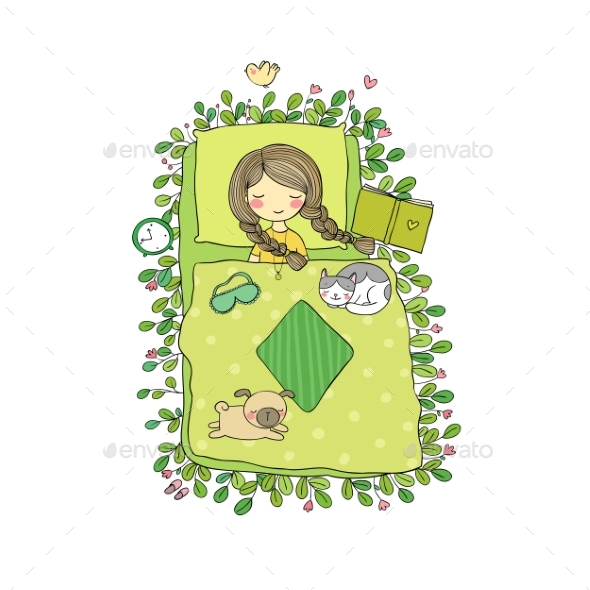 Girl and Animals Sleep in Bed - Miscellaneous Vectors