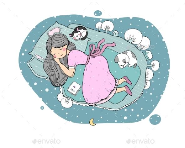 Girl in Bed - Miscellaneous Vectors