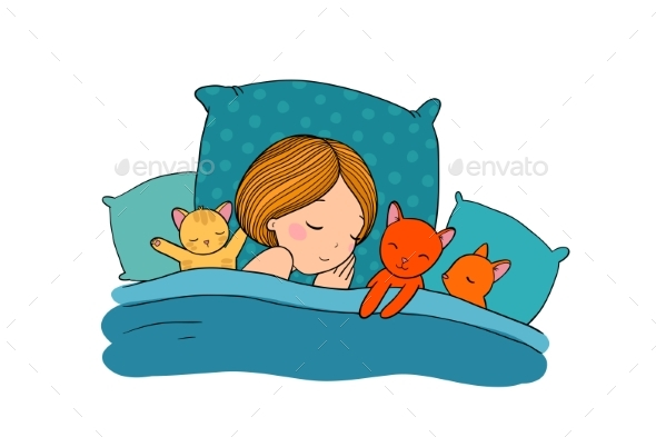 Sleeping Girl and Cat in Bed - People Characters