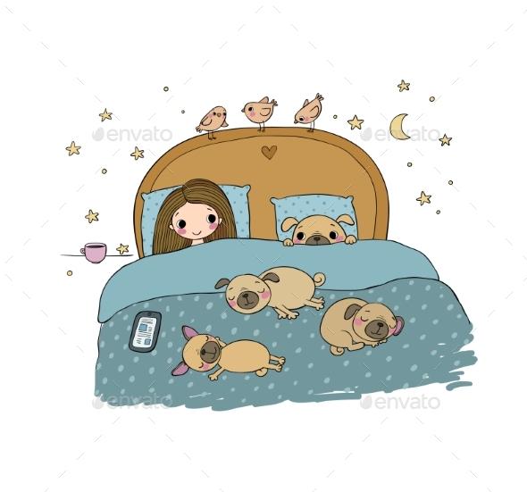 Girl and Pugs Sleeping - People Characters