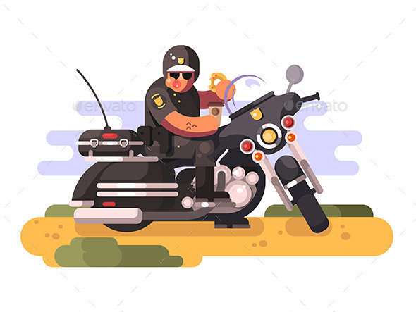 Police Officer with Donut and Coffee on Motorcycle - People Characters