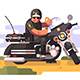 Police Officer with Donut and Coffee on Motorcycle