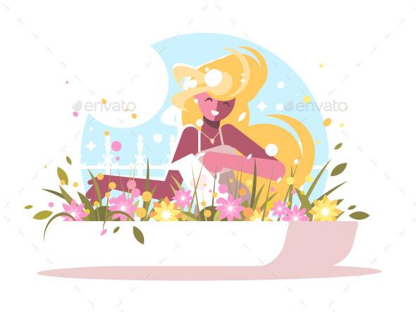 Blonde Watering Home Flowers - People Characters