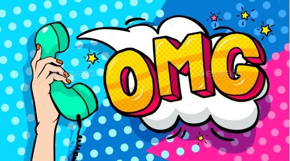 OMG Word Bubble in Pop Art Comics Style. - Miscellaneous Vectors