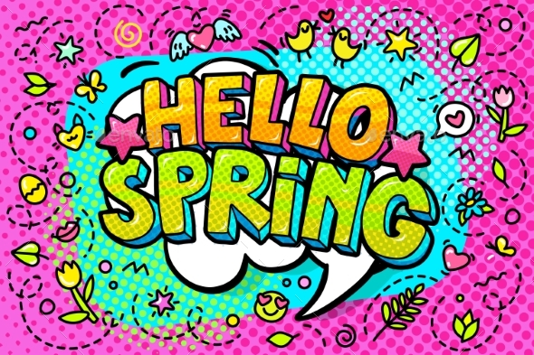 Hello Spring Word Bubble - Miscellaneous Vectors