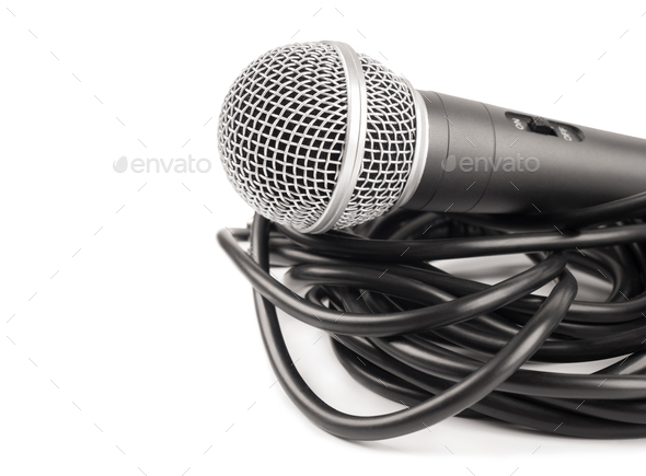 Microphone with curly cable - Stock Photo - Images