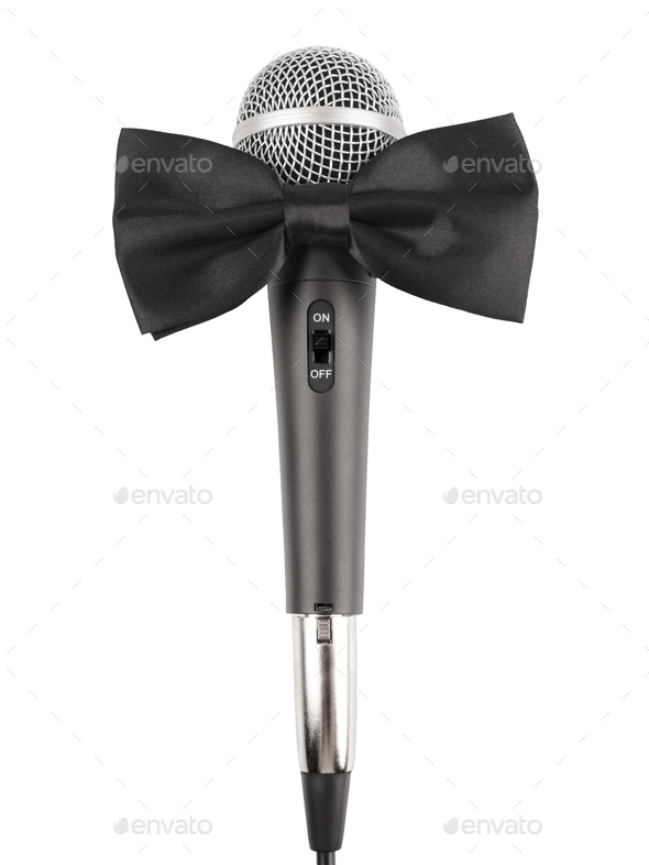 Microphone with bow tie - Stock Photo - Images