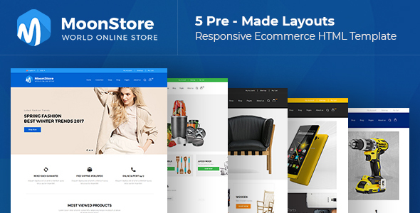 Moonstore - 5 Multipurpose Responsive Ecommerce HTML Template - Shopping Retail