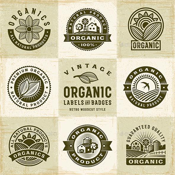 Vintage Organic Labels and Badges Set - Decorative Symbols Decorative