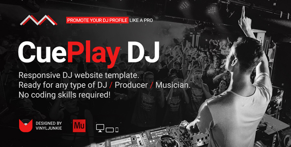 CuePlay – DJ / Producer / Music Band Responsive Website Muse Template