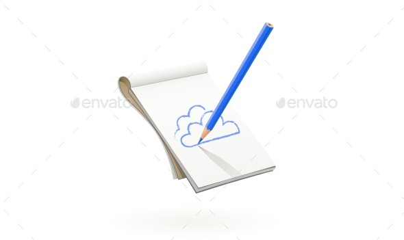 Blue Pencil Draws Cloud in Art Album - Man-made Objects Objects