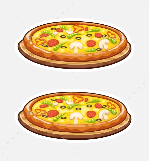 Pizza on Wooden Board - Food Objects
