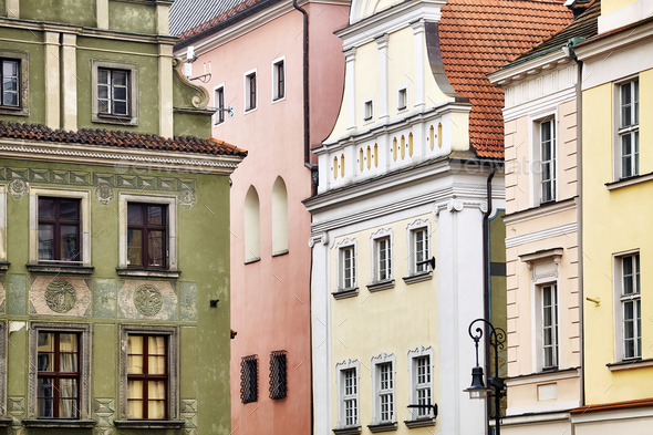 Old buildings facades in Poznan, Poland. - Stock Photo - Images
