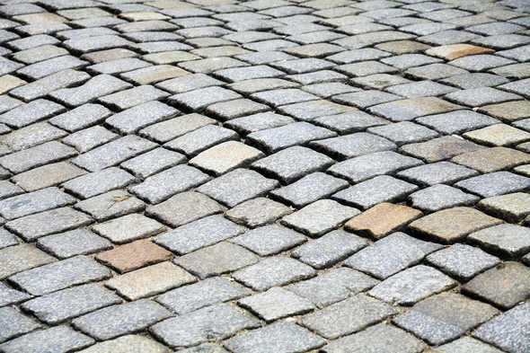 Cobblestone street pavement, urban background - Stock Photo - Images