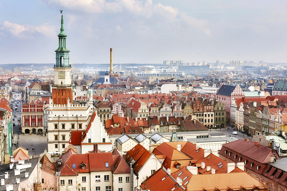 Aerial view of the Poznan Old Town, Poland - Stock Photo - Images