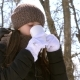 Girl Drinks Coffee From White Glass in Open Air Into Winter Frosty Cold. - VideoHive Item for Sale
