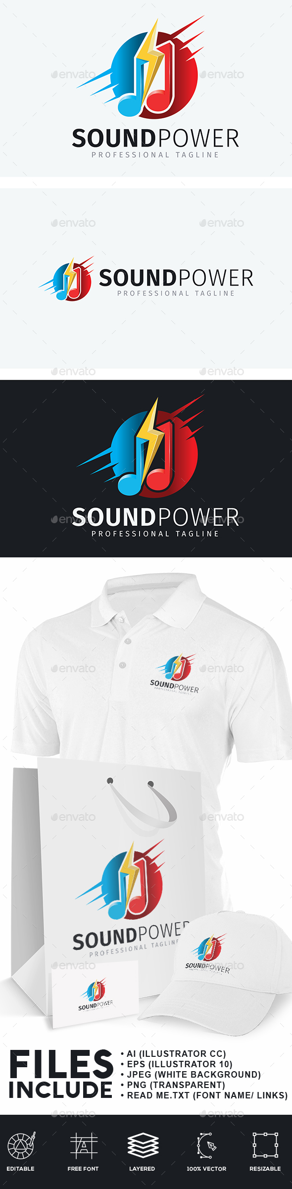 Sound Power Logo - Symbols Logo Templates