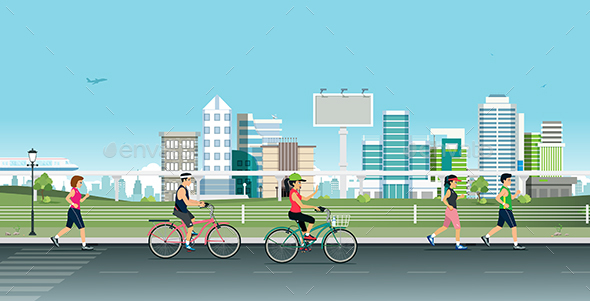 Jogging in the City - Sports/Activity Conceptual