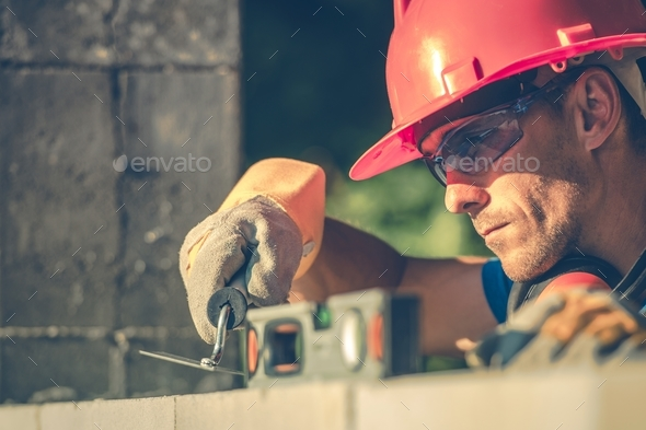 Caucasian Masonry Worker - Stock Photo - Images