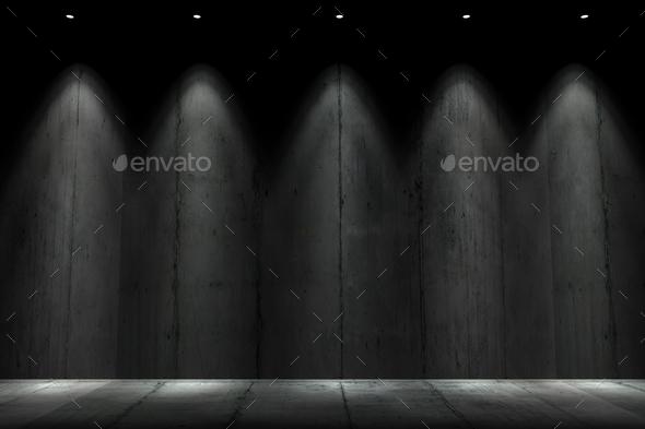 Dark Illuminated Concrete Wall - Stock Photo - Images