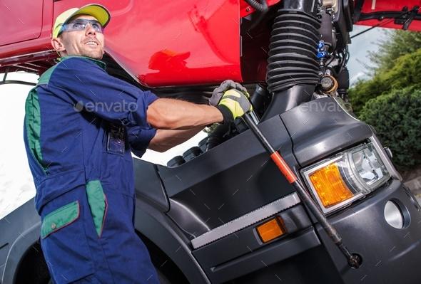 Semi Truck Maintenance - Stock Photo - Images