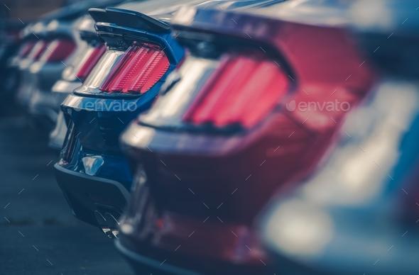 Modern Cars in Dealer Stock - Stock Photo - Images