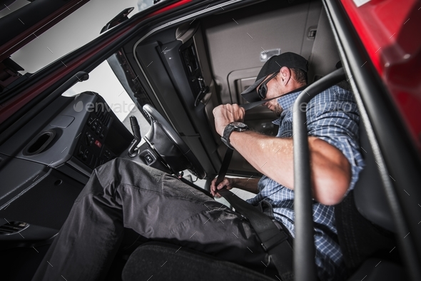 Truck Driving Seat Belt - Stock Photo - Images