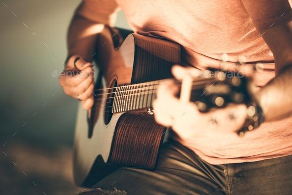 Guitarist Playing Guitar - Stock Photo - Images