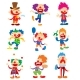 Clown Character Vector Performing Different Fun - GraphicRiver Item for Sale