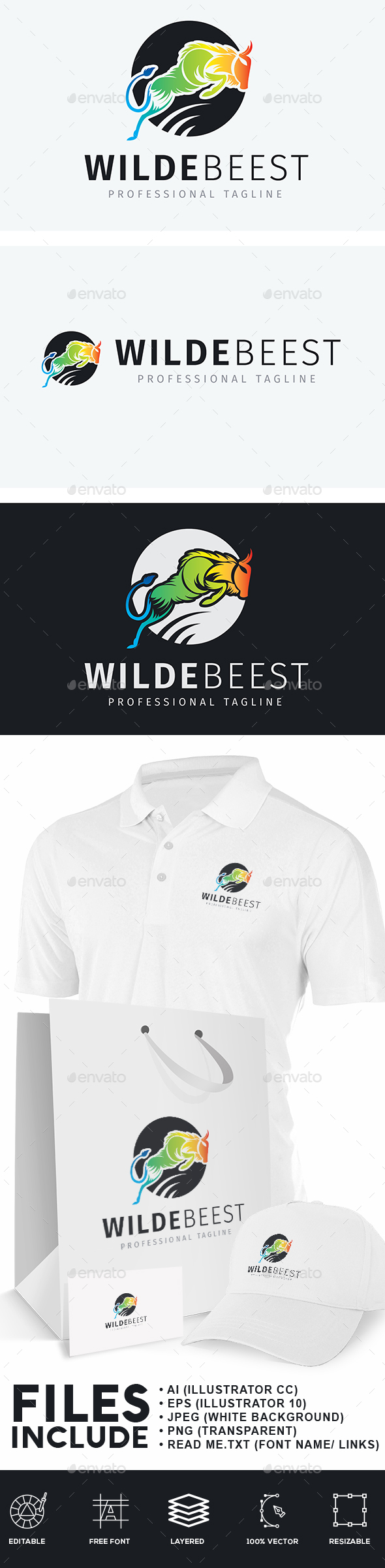 Wildebeest Logo - Animals Logo Templates
