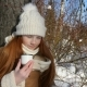 Red-Haired Girl Teenage Eating a Bread and Drinks a Tea on Winter Sunny Day - VideoHive Item for Sale