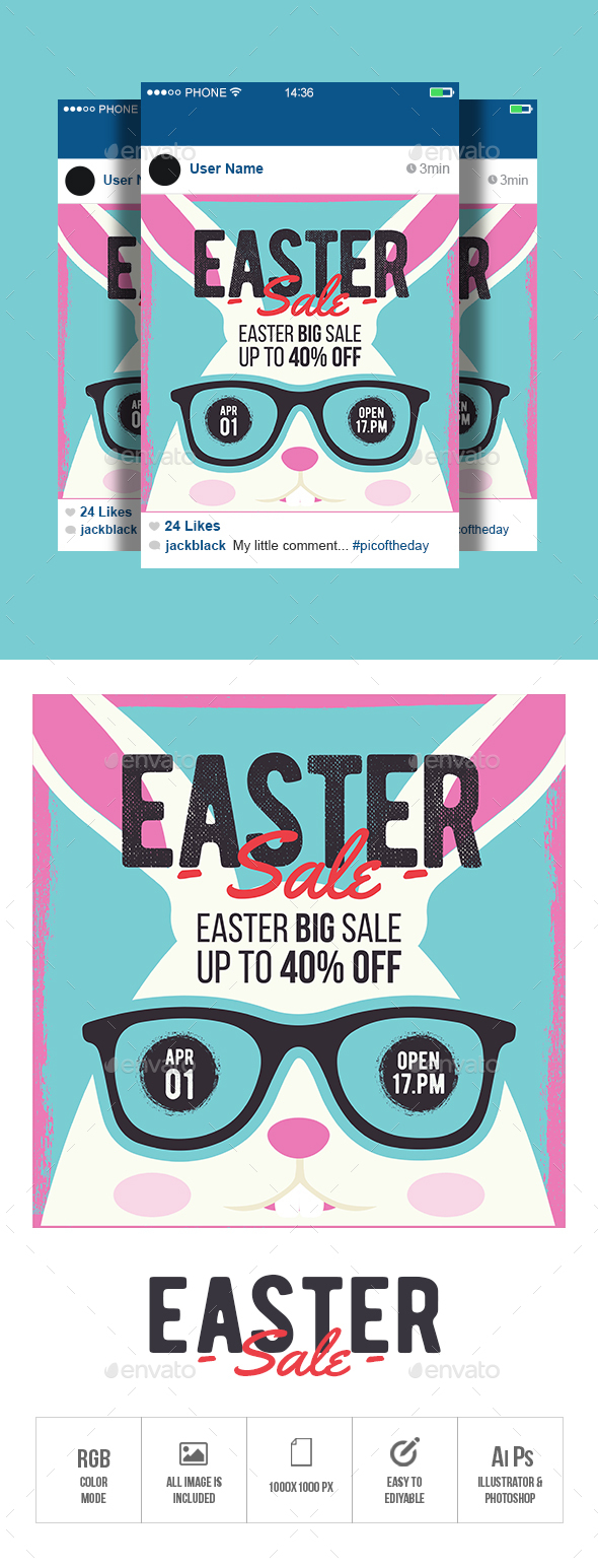 Easter Sale Banner - Banners & Ads Web Elements