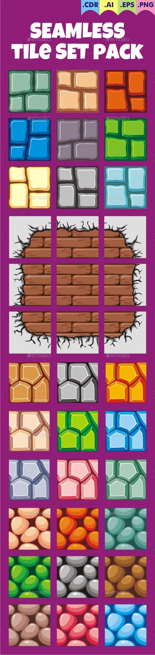 Seamless Tileset Pack 3 - Tilesets Game Assets