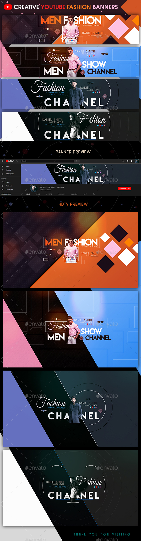 Creative Fashion YouTube Banners - YouTube Social Media