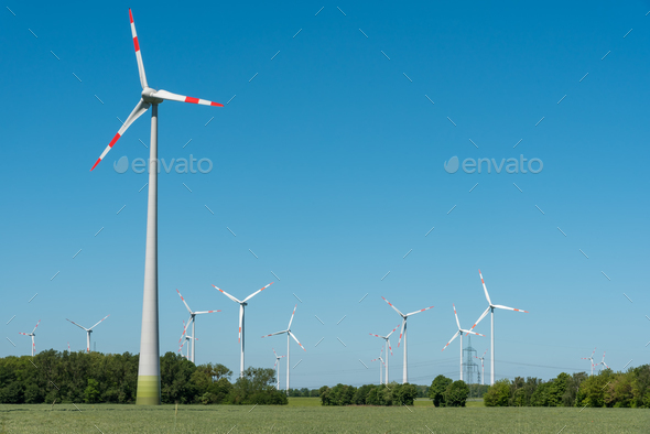 Wind energy plants in Germany - Stock Photo - Images