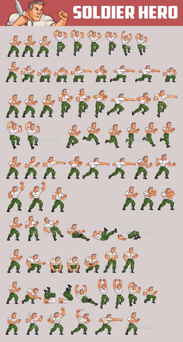 Soldier Hero Sprite - Sprites Game Assets