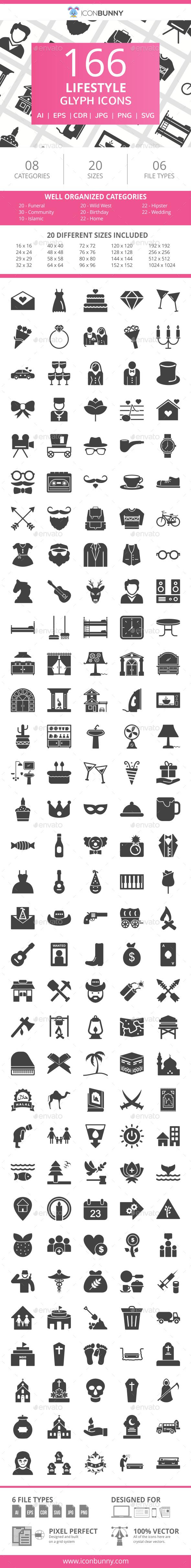 166 Lifestyle Glyph Icons - Icons