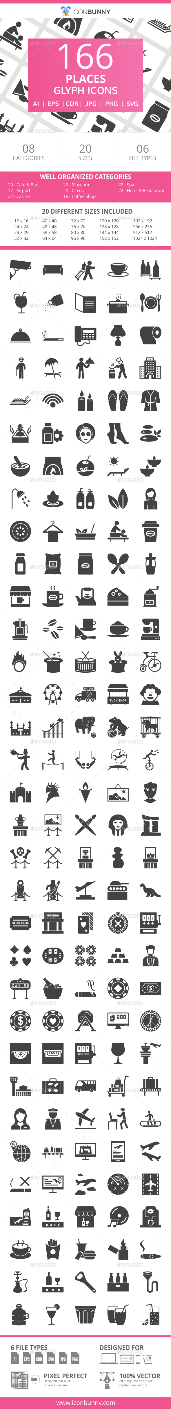 166 Places Glyph Icons - Icons
