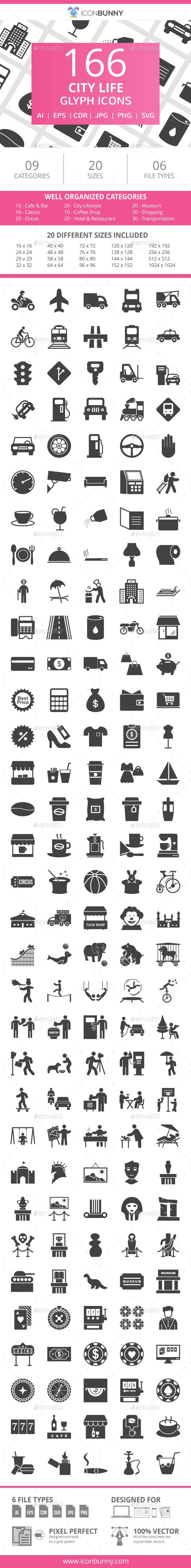166 City Life Glyph Icons - Icons