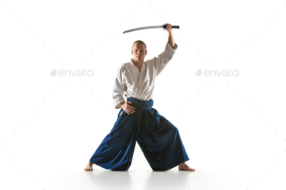 The young man are training Aikido at studio - Stock Photo - Images