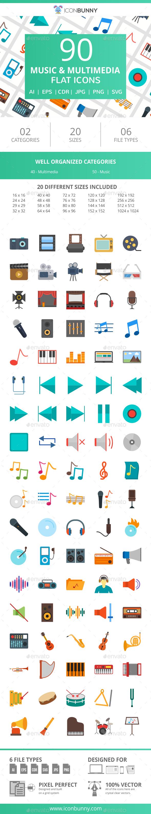 90 Music & Multimedia Flat Icons - Icons