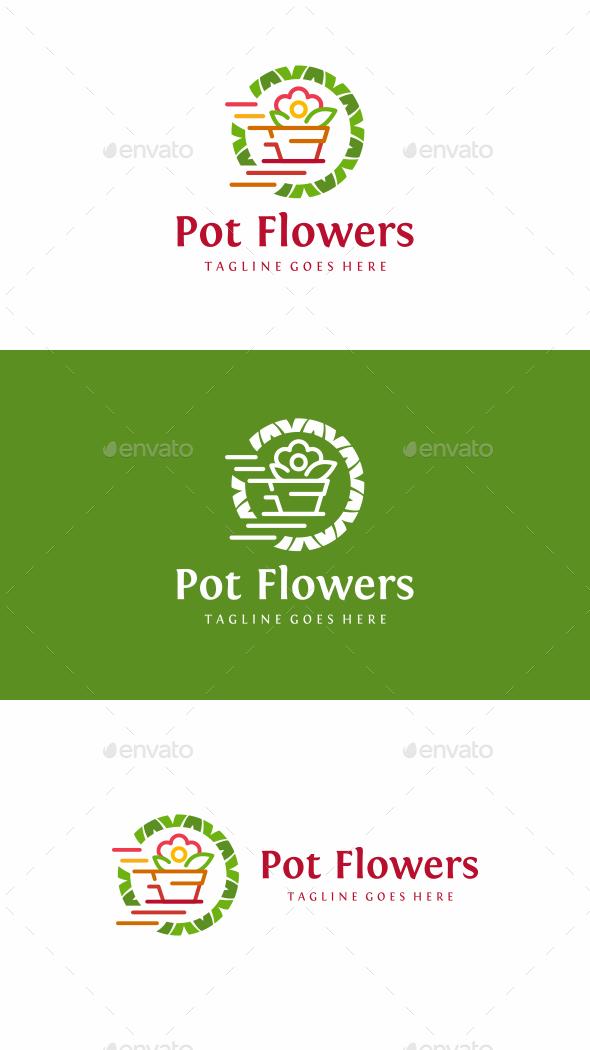 Pot Flowers - Nature Logo Templates