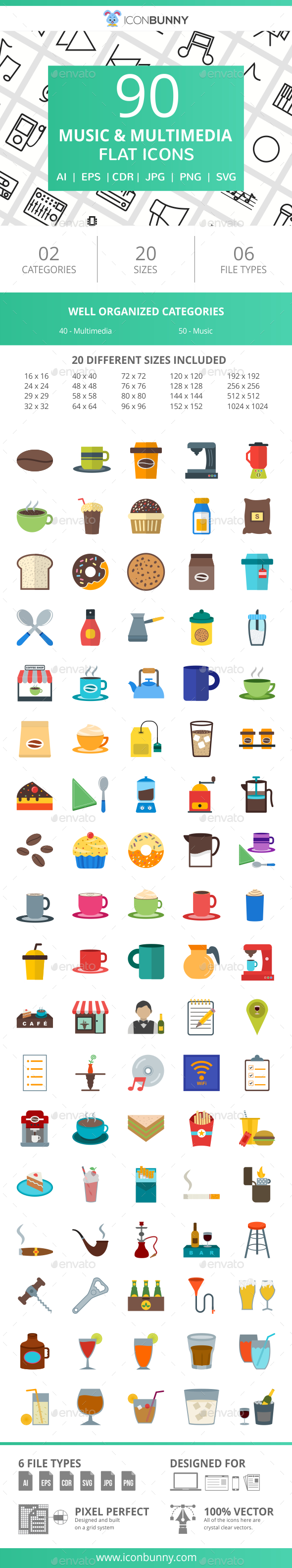 90 Coffee & Cafe Flat Icons - Icons
