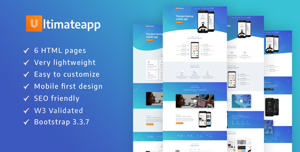 ULTIMATEAPP – A Lightweight & Modern App Landing Template - Technology Landing Pages