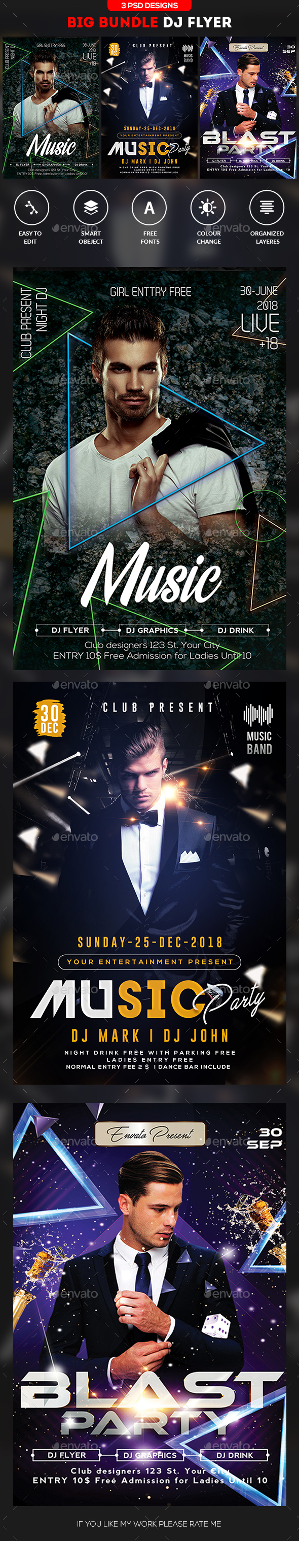 Guest DJ Flyer Bundle - Clubs & Parties Events